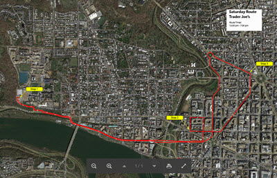 Thumbnail map showing the route of the Saturday shuttle from Main Campus Bus Turnaround to 20th & Massachusetts Avenue