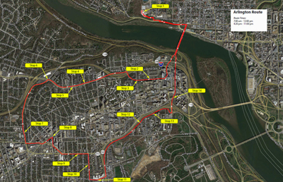 Map of Arlington shuttle route, with stops on Main Campus's Bus Turnaround and through Arlington, VA including on Key Blvd, Lee Hwy, and Arlington Blvd, and at River Place.